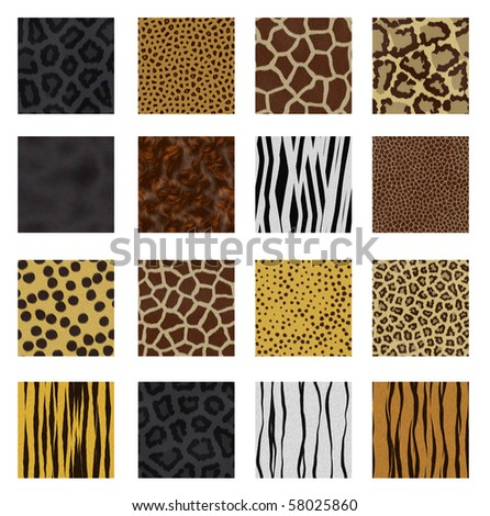 Highly detailed animal skin vector pack - 16 different pattern