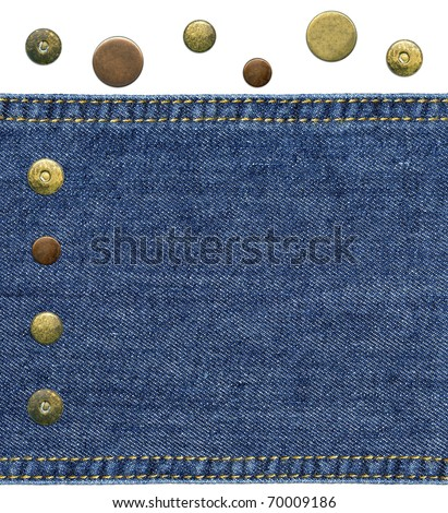 Highly detailed closeup - a piece of worn blue denim with sewed sides and set of various jeans' metal rivets and buttons, isolated on white background