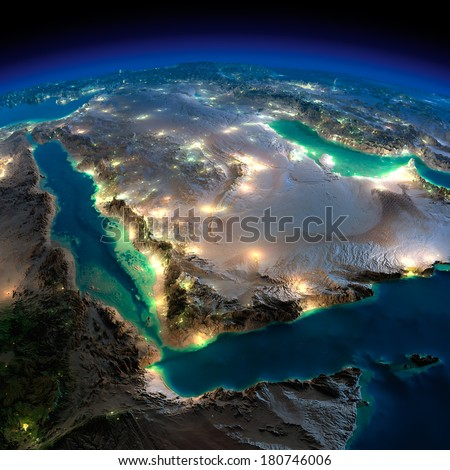 Highly detailed Earth, illuminated by moonlight. The glow of cities sheds light on the detailed exaggerated terrain. Night Earth. Saudi Arabia. Elements of this image furnished by NASA Stockfoto ©