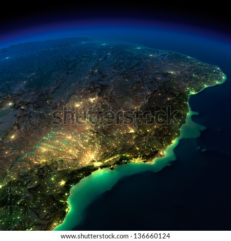 Highly detailed Earth, illuminated by moonlight. The glow of cities sheds light on the exaggerated terrain and translucent water. South America, Brazil. Elements of this image furnished by NASA