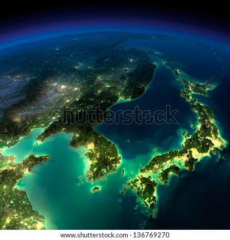 Highly detailed Earth, illuminated by moonlight. The glow of cities sheds light on the exaggerated terrain and translucent water.  Korea, Japan and China. Elements of this image furnished by NASA