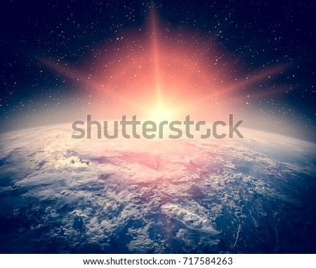 Highly detailed epic sunrise from space. The elements of this image furnished y NASA.