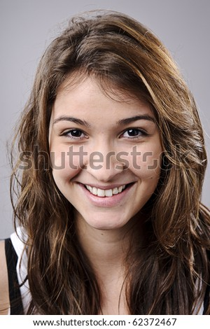 Highly detailed fine art portrait. smiling happy real person Foto stock ©