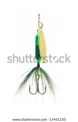 Highly detailed fishing lure isolated on white.
