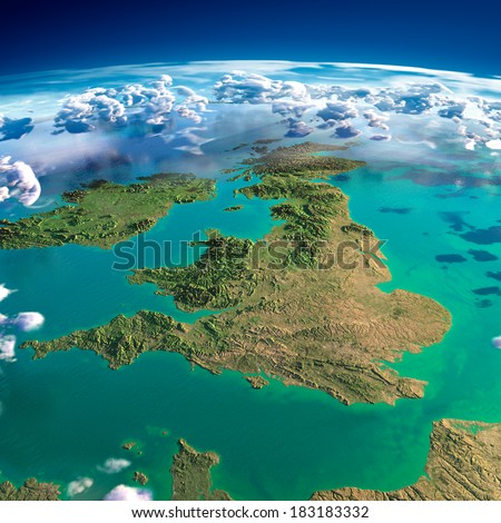 Stock Photo Highly detailed fragments of the planet Earth with exaggerated relief, translucent ocean, illuminated by the morning sun. United Kingdom and Ireland. Elements of this image furnished by NASA