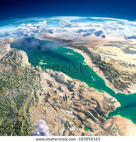 Stock Photo Highly detailed fragments of the planet Earth with exaggerated relief, translucent ocean and clouds, illuminated by the morning sun. Red Sea. Elements of this image furnished by NASA