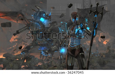 Stock Photo highly detailed high resolution render of a spartan type cybernetic soldier and her cyborg dragon in a war zone