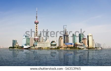 Highly detailed image of the current Shanghai Skyline, home of the World Business Expo 2010. Extremely clear sky with plenty of room for copy space