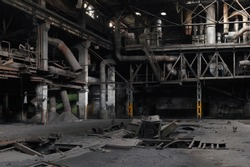 Highly detailed image of the interior of an abandoned factory with pipes and rusty metal structures, highly detailed panorama.