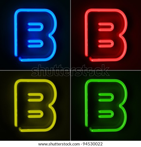 Highly detailed neon sign with the letter B in four colors