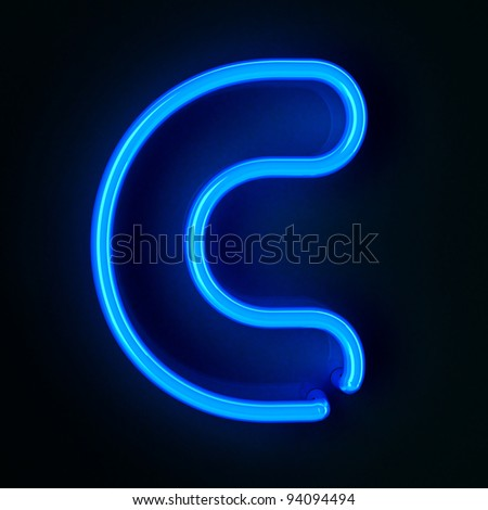 Highly detailed neon sign with the letter C