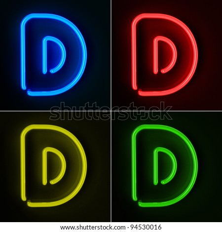 Highly detailed neon sign with the letter D in four colors