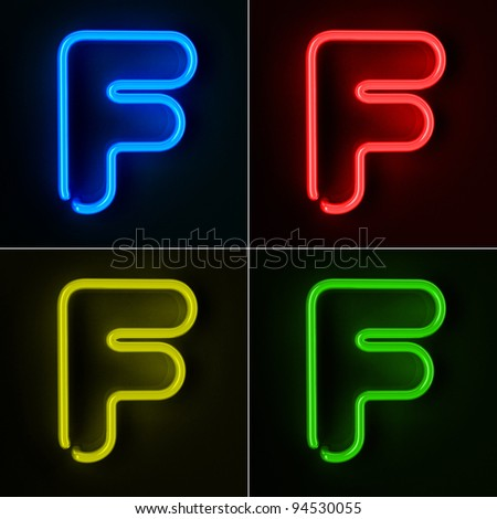 Highly detailed neon sign with the letter F in four colors