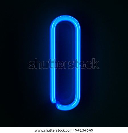 Highly detailed neon sign with the letter I