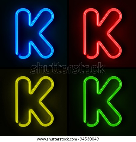 Highly detailed neon sign with the letter K in four colors