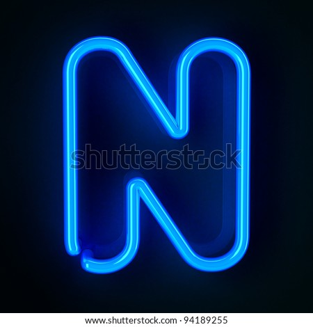Highly detailed neon sign with the letter N