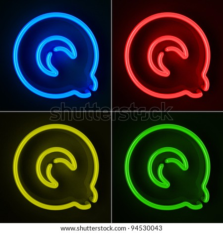 Highly detailed neon sign with the letter Q in four colors