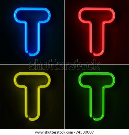 Highly detailed neon sign with the letter T in four colors