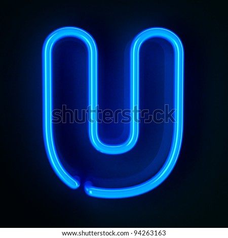 Highly detailed neon sign with the letter U
