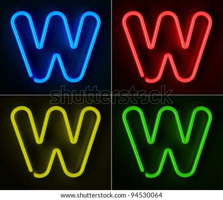 Highly detailed neon sign with the letter W in four colors