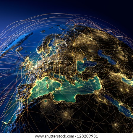 Highly detailed planet Earth at night, illuminated by light of cities, surrounded by a luminous network, representing the major air routes based on real data. Elements of this image furnished by NASA