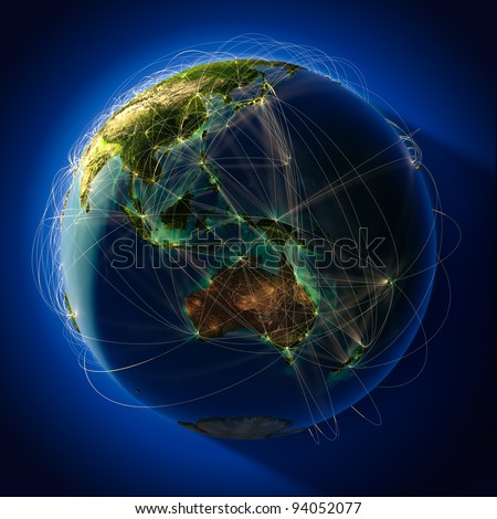 Highly detailed planet Earth at night, with embossed continents, illuminated by light of cities. Earth is surrounded by a luminous network, representing the major air routes based on real data - stock photo