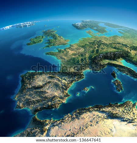 Highly detailed planet Earth. Exaggerated precise relief is illuminated by the rising sun from the east. Part of Europe, Spain, the Mediterranean Sea. Elements of this image furnished by NASA