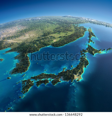 Stock Photo Highly detailed planet Earth. Exaggerated precise relief is illuminated by the rising sun from the east. Part of Asia, the Japanese sea. Elements of this image furnished by NASA