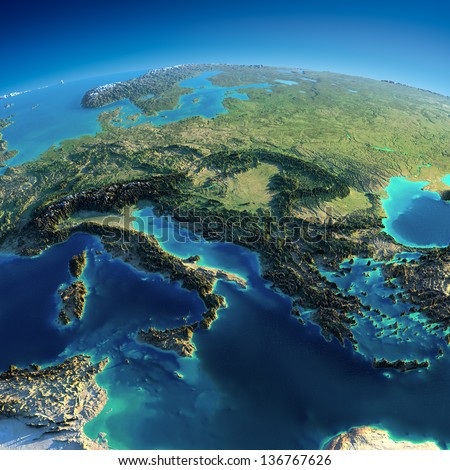 Highly detailed planet Earth. Exaggerated precise relief is illuminated by the rising sun from the east. Part of Europe - Italy, Greece and Mediterranean Sea. Elements of this image furnished by NASA