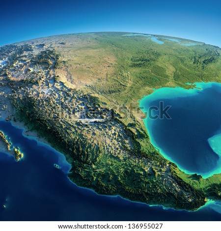 Highly detailed planet Earth. Exaggerated precise relief is illuminated by the rising sun from the east. Mexico and USA.  Elements of this image furnished by NASA