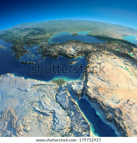 Stock Photo Highly detailed planet Earth in the morning. Exaggerated precise relief lit morning sun. Africa and Middle East.  Elements of this image furnished by NASA