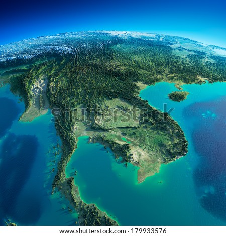 Highly detailed planet Earth in the morning. Exaggerated precise relief lit morning sun. Detailed Earth. Indochina peninsula. Elements of this image furnished by NASA