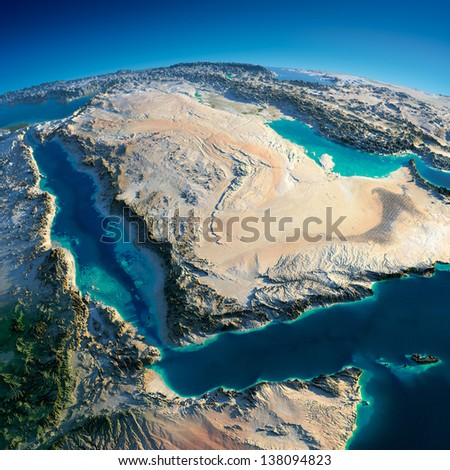 Highly detailed planet Earth in the morning. Exaggerated precise relief lit morning sun. Near East - Arabian Peninsula, Gulf of Aden, Saudi Arabia.  Elements of this image furnished by NASA