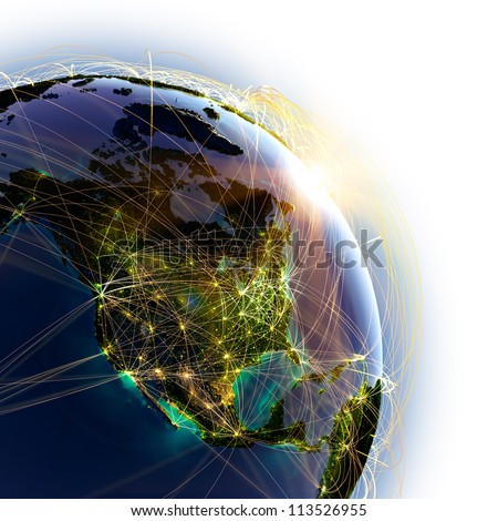 Highly detailed planet Earth, lit by the rising sun. Earth is surrounded by a luminous network, representing the major air routes based on real data. Elements of this image furnished by NASA