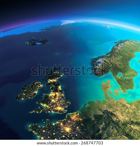 Highly detailed planet Earth. Night with glowing city lights gives way to day. The boundary of the night & day. United Kingdom and the North Sea. Elements of this image furnished by NASA