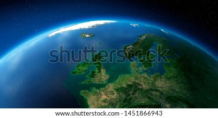 Highly detailed planet Earth with exaggerated relief illuminated by the evening sun. United Kingdom and the North Sea. 3D rendering. Elements of this image furnished by NASA