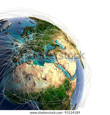 Highly detailed planet Earth with high relief and translucent ocean. Earth is surrounded by a shiny wire network, representing the major air routes based on real data