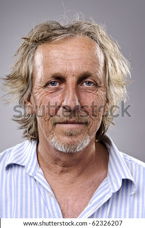 Highly detailed portrait of an older man, wrinkled and balding