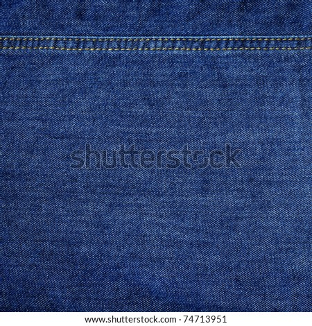 Highly detailed texture - abstract blue jeans background with double thread's seam