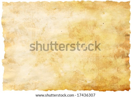 Highly detailed textured antique paper isolated on white , great grunge background for your projects with space for your text or image