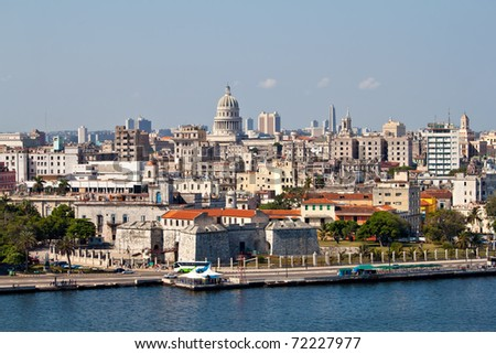 Highly detailed view of Old Havana including the bay and the Capitol in the background