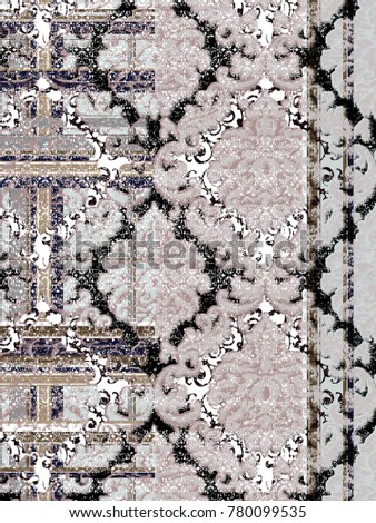 Highly detailed  vintage, grunge, abstract, check plaid background ,  floral damask, patchwork pattern for carpet, rug, linen, for art texture