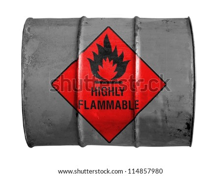 Highly flammable sign drawn on  oil barrel