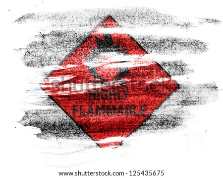 Highly flammable sign drawn on  painted on paper with colored charcoals