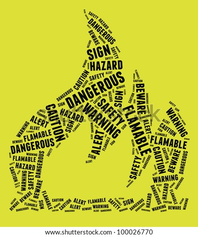 Highly flammable warning sign in text arrangement illustration on yellow background. Danger concept.