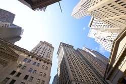 Highrise buildings at the Wall Street financial district in New York City, USA