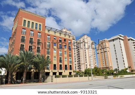 Highrise condominiums, Coral Gables, Florida