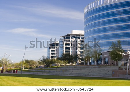 Highrise Office Buildings in Tempe Lake Park; Phoenix, Arizona - stock photo