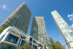 Highrise towers Miami Paraiso District on blue sky