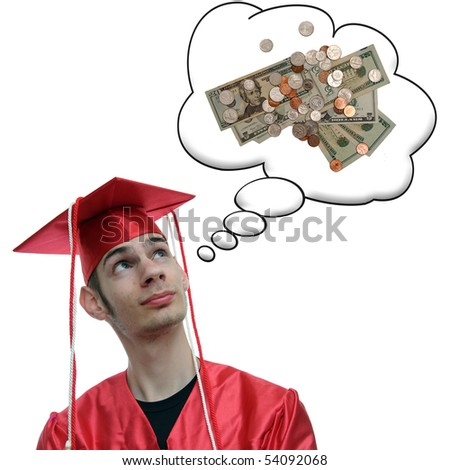 Highschool, university, or college graduate thinks about the debt he has and the money he will soon obtain now that he has a degree.